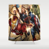 avenger Shower Curtains featuring The Avenger by Tania Joy