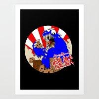 kaiju Art Prints featuring Kookie Kaiju by Joel Jackson