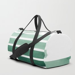 Deep Aqua Green Midcentury Modern Minimalist Staggered Stripes Rectangle Geometric Aztec Pattern Wat Duffle Bag