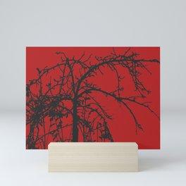 Creepy tree silhouette, black on red Mini Art Print