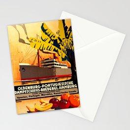 vintage Plakat Oldenburg Steamship Hamburg Morocco Spain Portugal Art Deco Stationery Cards