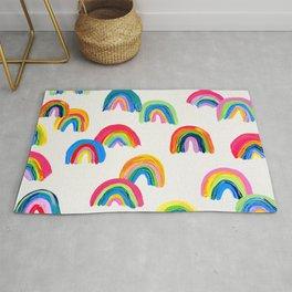 Abstract Rainbow Arcs - White Palette Rug