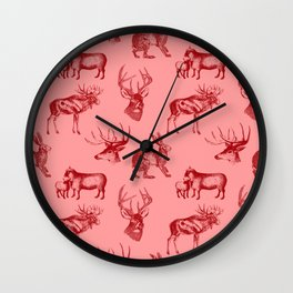 Woodland Critters in Red and Pink Wall Clock