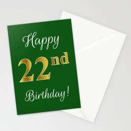 """Elegant """"Happy 22nd Birthday!"""" With Faux/Imitation Gold-Inspired Color Pattern Number (on Green) Stationery Cards"""