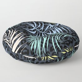 Palm leaves and leopard skin pattern Floor Pillow