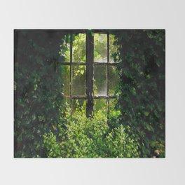 Green idyllic overgrown cottage garden window Throw Blanket
