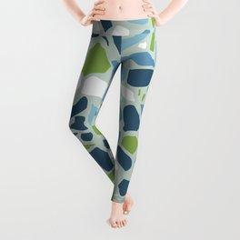 Terrazzo Mosaic Pattern, Teal Blue, Green, White Leggings