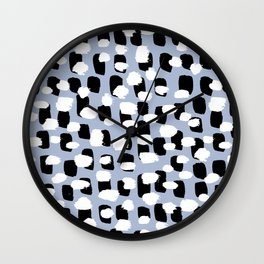 Spotted series messy abstract dashes blue black and white raw paint spots Wall Clock
