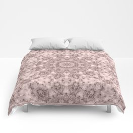 Pink marble kaleidoscope, ornament elements print Comforters