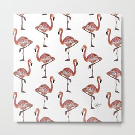Friendly Pink Flamingos Metal Print