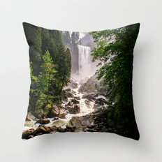 Yosemite Waterfall Throw Pillow