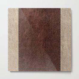 Dark Brown, Beige, Parallel Stitched Leather Effect Metal Print