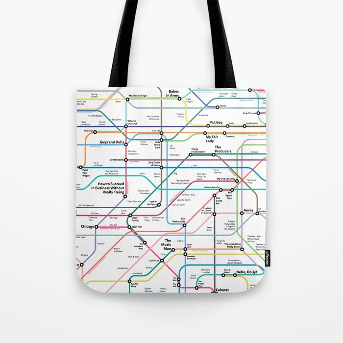 Broadway Subway Map.The Broadway Musical History Subway Map Tote Bag By Musicaltheatrehistory