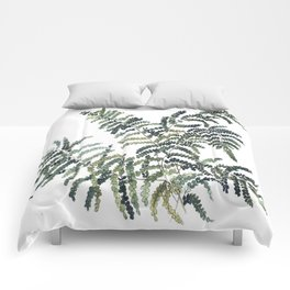 Woodland Fern Botanical Watercolor Illustration Painting Comforters