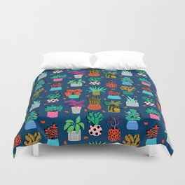 Check It - house plants indoor monstera neon bright modern pattern retro throwback memphis style Duvet Cover