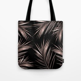 Rosegold Palm Tree Leaves on Midnight Black Tote Bag
