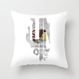 Illinois Typographic Flag Map Art Throw Pillow