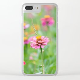 Summertime Zinnia's. Clear iPhone Case