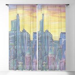 Philadelphia Skyline Sheer Curtain