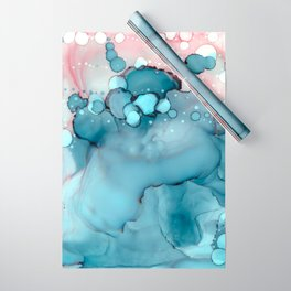 Becoming Abstract Painting Pink Blue Wrapping Paper