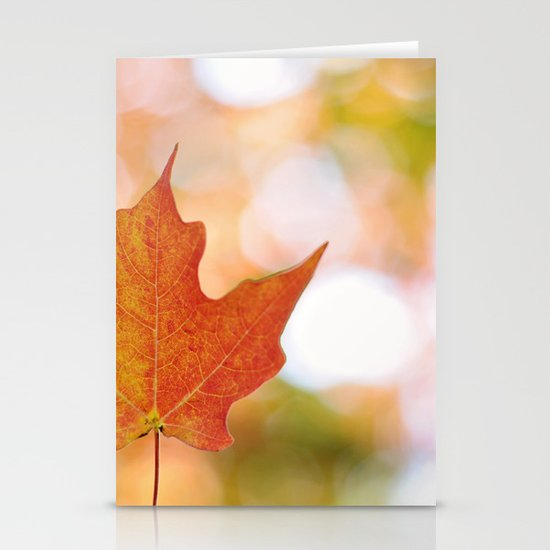 Maple leaf bokeh Stationery Cards