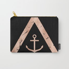 Anchor Rose Gold on Black Carry-All Pouch