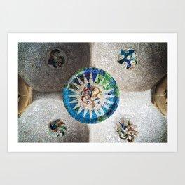 Ceiling of the Monumental Zone of Park Güell, Barcelona, Spain Art Print
