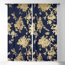 Elegant vintage navy blue faux gold flowers Blackout Curtain