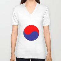 korea V-neck T-shirts featuring I'm huge in korea by junaputra