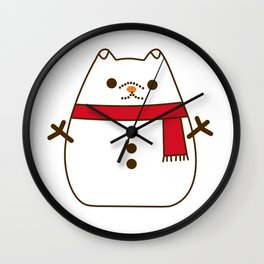 Cute Christmas Snowman Pupsheen Wall Clock