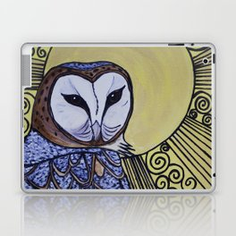 Barn Owl Art Nouveau Panel in yellow Laptop & iPad Skin