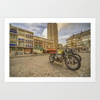 bmw Art Prints featuring Dunkerque BMW by Rob Hawkins Photography