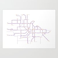 Amsterdam  – metro and transport map Art Print