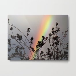 Rainbow Bush Silhouette Metal Print