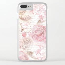 Vintage pastel pink brown butterfly floral typography Clear iPhone Case