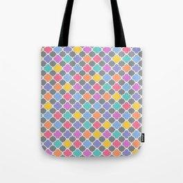 Rainbow & Gray Quatrefoil Tote Bag
