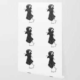 Dancing reaper - silhouette grim - skeleton cartoon - night angel Wallpaper