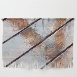 It's Raining! Beautiful Abstract Photography of Rain Falling on Redwood Deck Wall Hanging