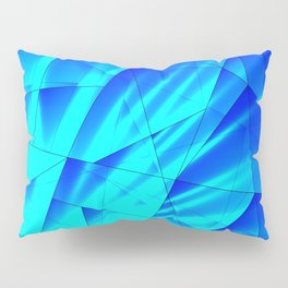 Bright sunshine on celestial and blue triangles of irregular shape. Pillow Sham
