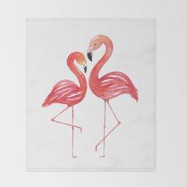Flamingo Love Watercolor Painting Throw Blanket
