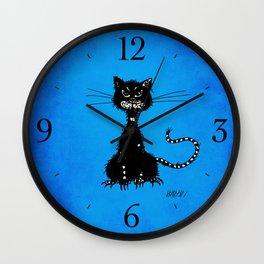 Ragged Evil Black Cat (blue) Wall Clock
