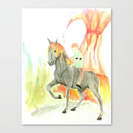 Hussie on a Steed in front of Volcano Canvas Print