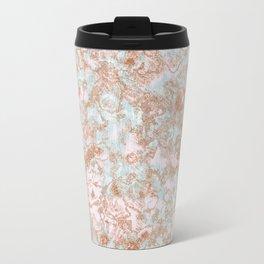 Mint Blush & Rose Gold Metallic Marble Texture Travel Mug