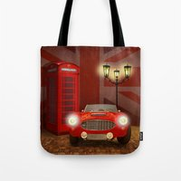 british Tote Bags featuring British RED by Monika Juengling