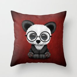 Cute Panda Bear Cub with Eye Glasses on Red Throw Pillow