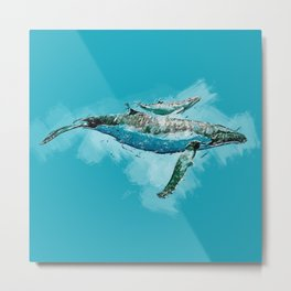 The beauty of a mothers love - Humpback Whales Metal Print