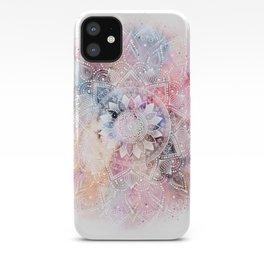 Whimsical white watercolor mandala design iPhone Case