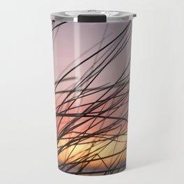 Grasses in the rainbow light of sunset Travel Mug