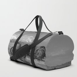 Rustic Tractor - Old Tractor in Black and White Duffle Bag