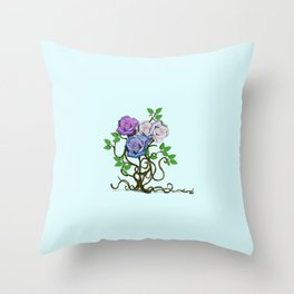 Purple&Pink Roses With a Touch of Blue  Throw Pillow